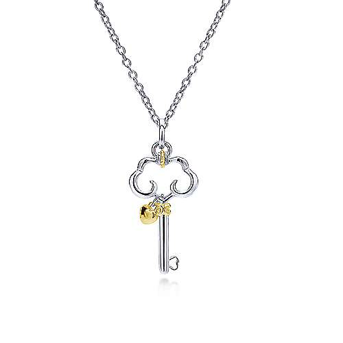 925 Silver And 18k Yellow Gold Eternal Love Key Necklace