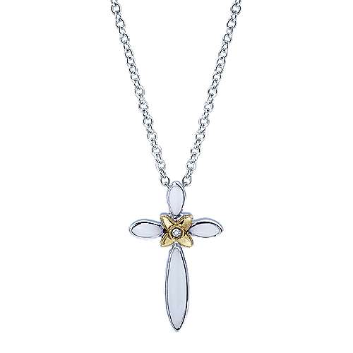 Gabriel - 925 Silver And 18k Yellow Gold Faith Cross Necklace