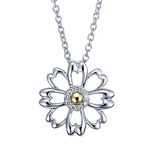 925 Silver And 18k Yellow Gold Floral Fashion Necklace angle 1