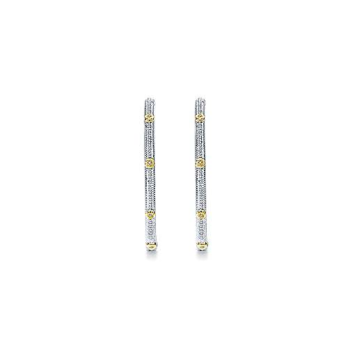 925 Silver And 18k Yellow Gold Hoops Classic Hoop Earrings angle 3