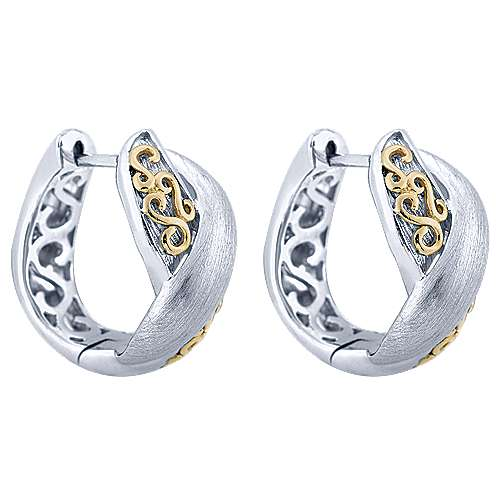 Gabriel - 925 Silver And 18k Yellow Gold Huggies Huggie Earrings