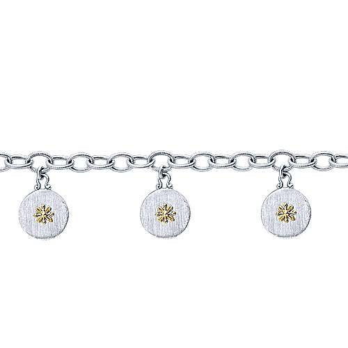 925 Silver And 18k Yellow Gold Infinite Gems Chain Bracelet angle 2