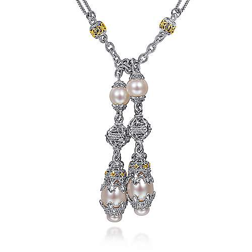 Gabriel - 925 Silver And 18k Yellow Gold Infinite Gems Lariat Necklace