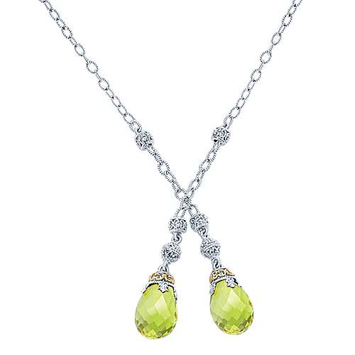 925 Silver And 18k Yellow Gold Infinite Gems Lariat Necklace angle 1