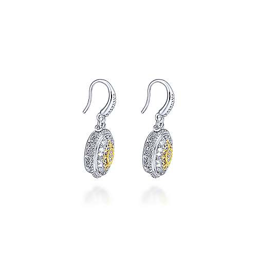 925 Silver And 18k Yellow Gold Mediterranean Drop Earrings angle 2