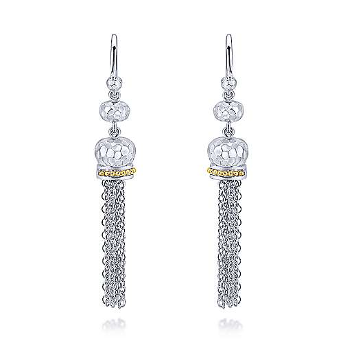 Gabriel - 925 Silver And 18k Yellow Gold Mediterranean Drop Earrings