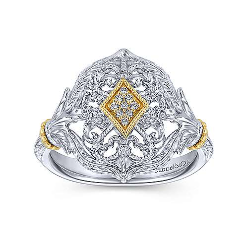 925 Silver And 18k Yellow Gold Mediterranean Fashion Ladies' Ring angle 4