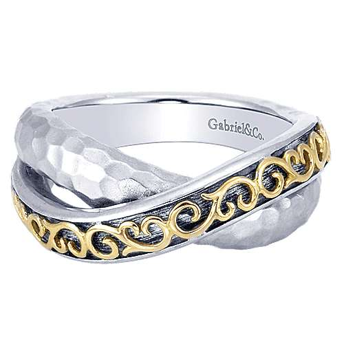925 Silver And 18k Yellow Gold Mediterranean Fashion Ladies' Ring angle 1