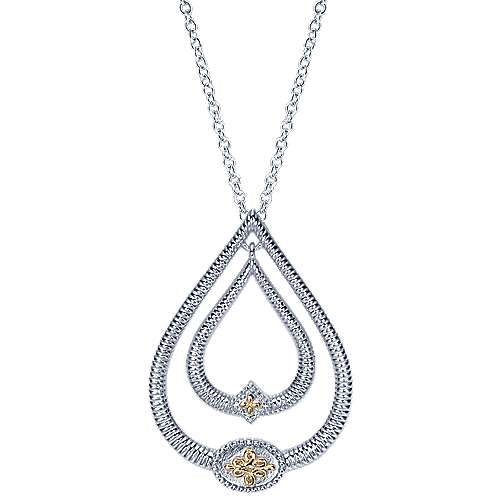 Gabriel - 925 Silver And 18k Yellow Gold Mediterranean Fashion Necklace