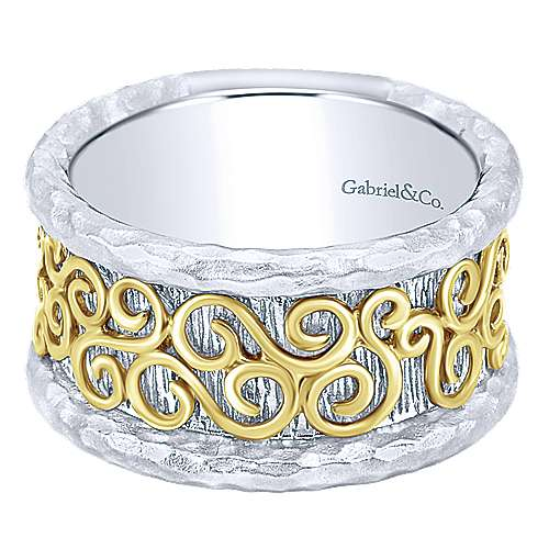 925 Silver And 18k Yellow Gold Mediterranean Wide Band Ladies' Ring angle 1