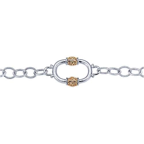 925 Silver And 18k Yellow Gold Roman Chain Bracelet angle 2