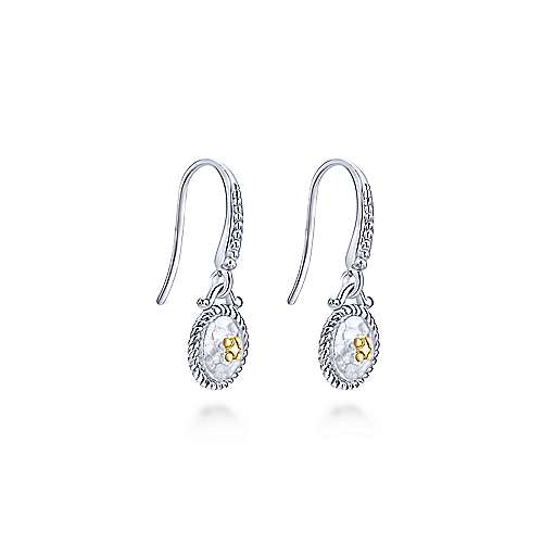 925 Silver And 18k Yellow Gold Roman Drop Earrings angle 2