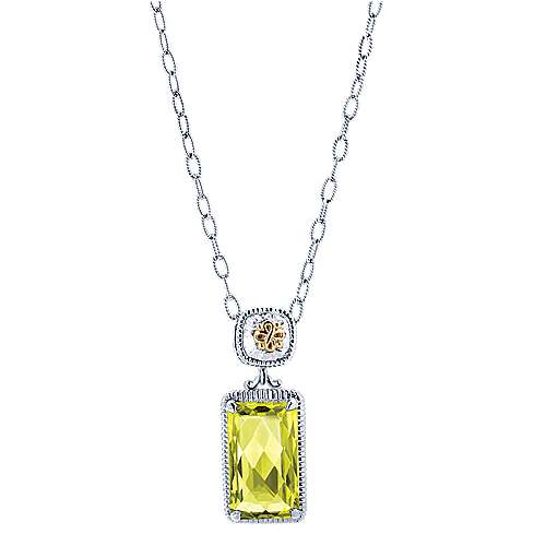 925 Silver And 18k Yellow Gold Roman Fashion Necklace angle 1