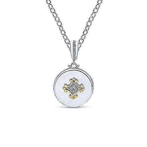 925 Silver And 18k Yellow Gold Roman Fashion Pendant angle 3