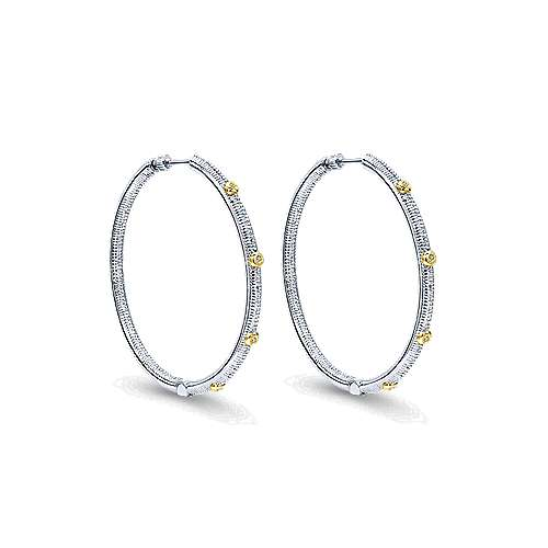 925 Silver And 18k Yellow Gold Scalloped Classic Hoop Earrings
