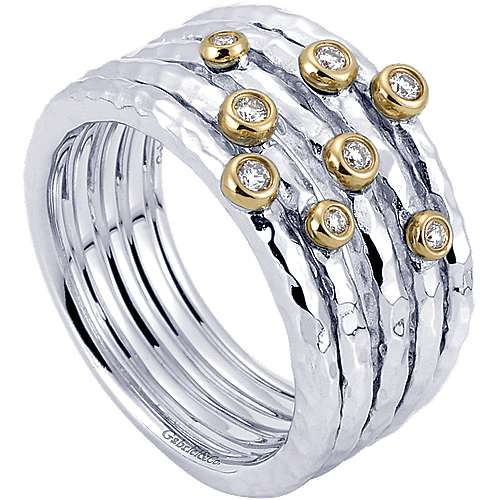 925 Silver And 18k Yellow Gold Souviens Wide Band Ladies' Ring angle 3