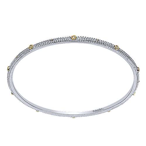 925 Silver And 18k Yellow Gold Stackable Bangle angle 1