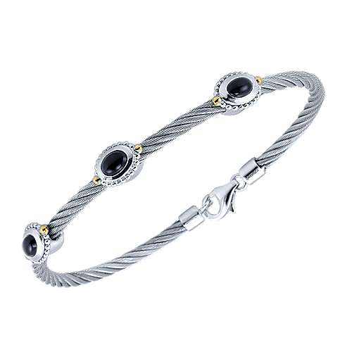 925 Silver And 18k Yellow Gold Steel My Heart Bangle Bracelet angle 2