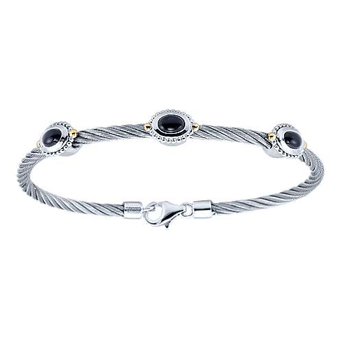 925 Silver And 18k Yellow Gold Steel My Heart Twisted Cable Bracelet