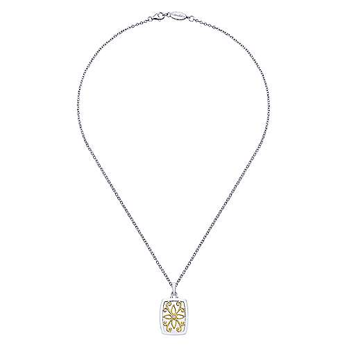 925 Silver And 18k Yellow Gold Swing Locket Necklace angle 2