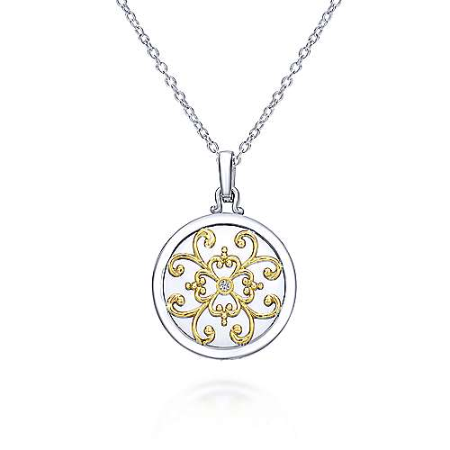 925 Silver And 18k Yellow Gold Swing Locket Necklace angle 1