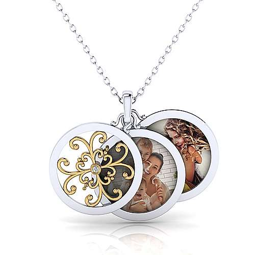 925 Silver And 18k Yellow Gold Swing Locket Necklace angle 3