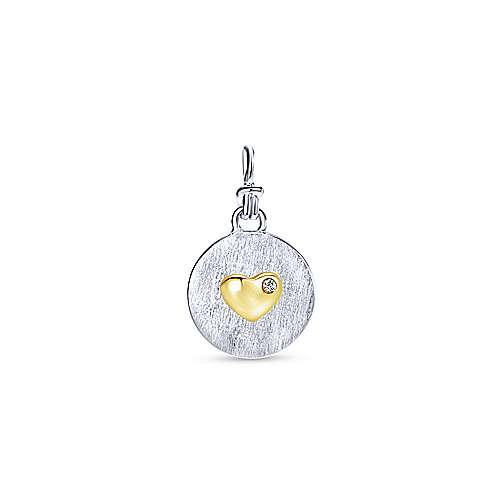 925 Silver And 18k Yellow Gold Treasure Chests Charm Pendant angle 1