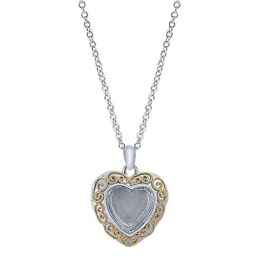 925 Silver And 18k Yellow Gold Treasure Chests Locket Necklace angle 1