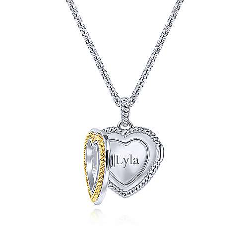 925 Silver And 18k Yellow Gold Treasure Chests Locket Necklace angle 2