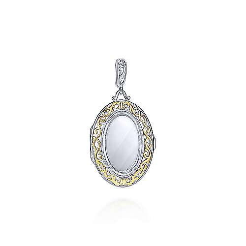 925 Silver And 18k Yellow Gold Treasure Chests Locket Pendant angle 1