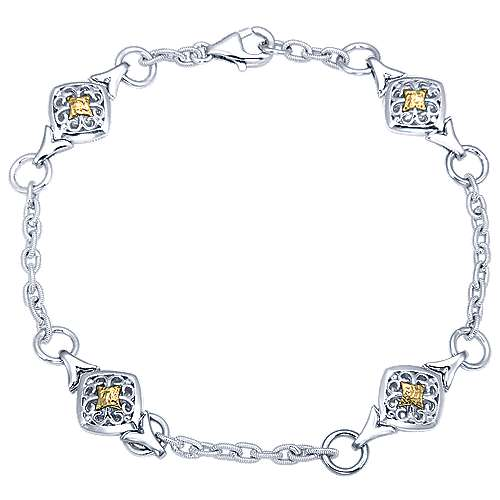 925 Silver And 18k Yellow Gold Victorian Chain Bracelet