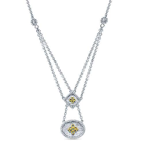 Gabriel - 925 Silver And 18k Yellow Gold Victorian Fashion Necklace