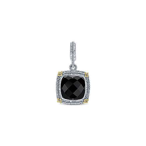 925 Silver And 18k Yellow Gold Victorian Fashion Pendant
