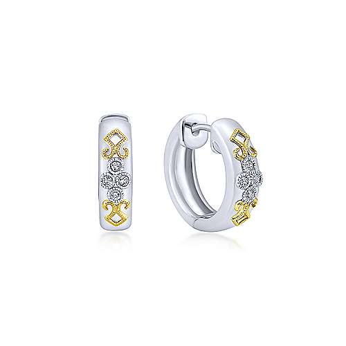 925 Silver And 18k Yellow Gold Victorian Huggie Earrings