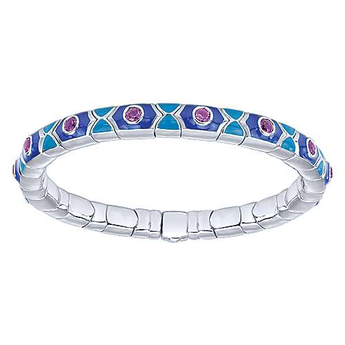 925 Silver And Stainless Steel Souviens Enamel Bangle angle 1