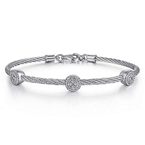 Gabriel - 925 Silver And Stainless Steel Steel My Heart Bangle