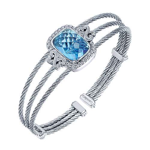 925 Silver And Stainless Steel Steel My Heart Bangle angle 2