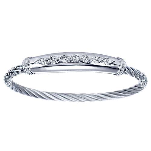 925 Silver And Stainless Steel Steel My Heart Bangle angle 1