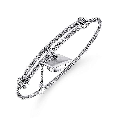 925 Silver And Stainless Steel Steel My Heart Charm Bangle angle 2