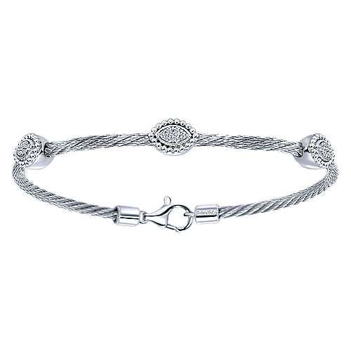 925 Silver And Stainless Steel Steel My Heart Twisted Cable Bangle angle 1