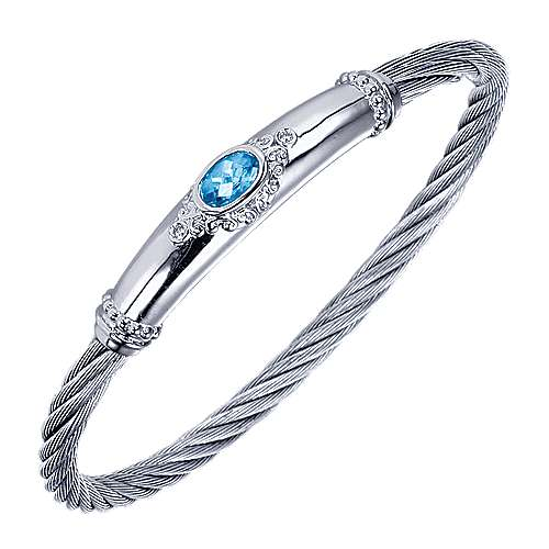 925 Silver And Stainless Steel Steel My Heart Twisted Cable Bangle angle 2