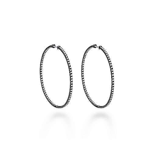 925 Silver Black Plated Shadow Play Classic Hoop Earrings angle 1