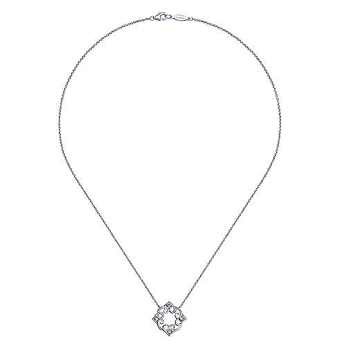 925 Silver Blossoming Heart Fashion Necklace angle 2