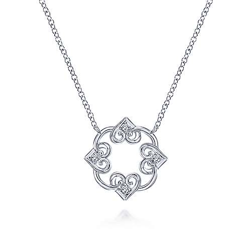 925 Silver Blossoming Heart Fashion Necklace angle 1