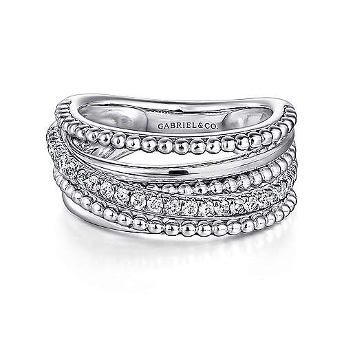 925 Silver Bujukan Wide Band Ladies' Ring angle 1