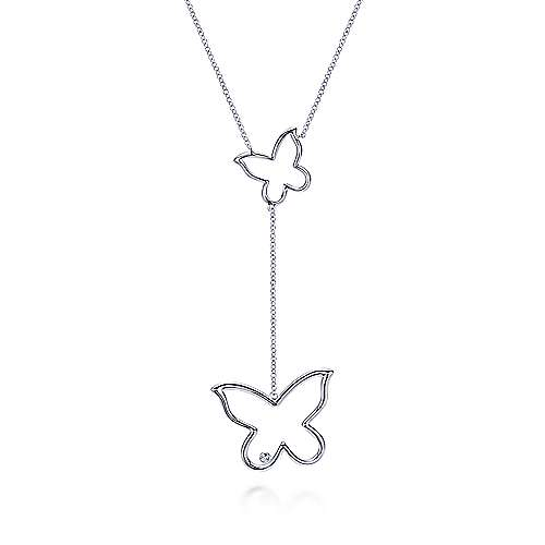 925 Silver Butterfly Lariat Necklace angle 1