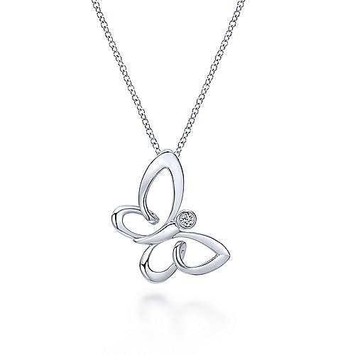 925 Silver Butterfly Necklace angle 1