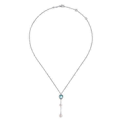 925 Silver Color Solitaire Y Knots Necklace angle 2