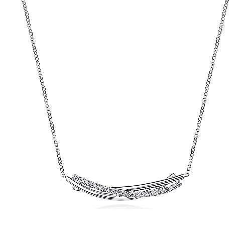 925 Silver Contemporary Bar Necklace angle 1