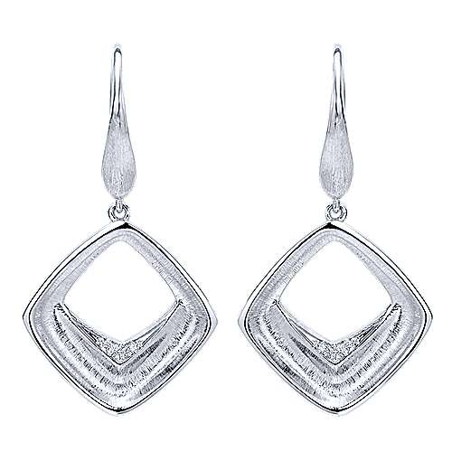 925 Silver Contemporary Drop Earrings angle 1